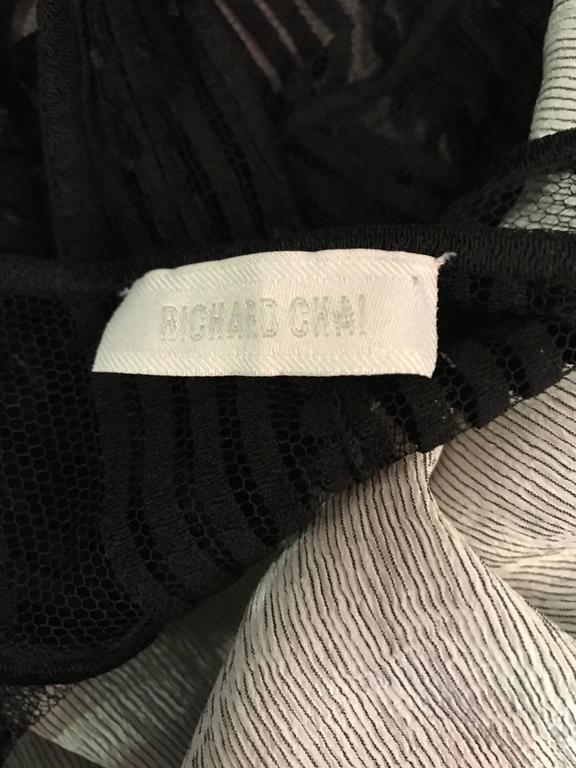 New Richard Chai Black and White Military + Bondage Inspired Waistcoat Vest Top For Sale 5