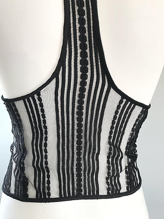 New Richard Chai Black and White Military + Bondage Inspired Waistcoat Vest Top In Excellent Condition For Sale In San Francisco, CA