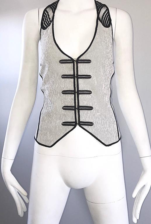 New Richard Chai Black and White Military + Bondage Inspired Waistcoat Vest Top For Sale 3