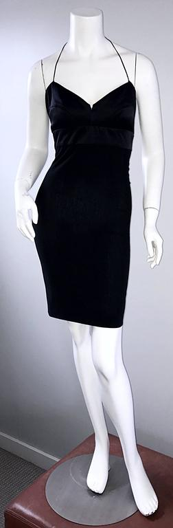 Sexy vintage NARCISCO RODRIGUEZ black bodcon cut-out back halter dress from the designer's first runway collection in 1997! Hugs the body in all the right places. Fully functional silver zipper detail up the back leaves the option of opening the