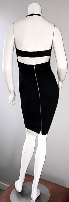 Narcisco Rodriguez First Collection 1997 Black Sexy Bodycon Cut - Out Back Dress In Excellent Condition For Sale In Chicago, IL