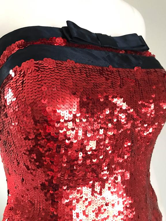 Women's 1990s Bill Blass NWT Red Sequin + Black Bow Strapless Bustier Vintage Corset Top For Sale