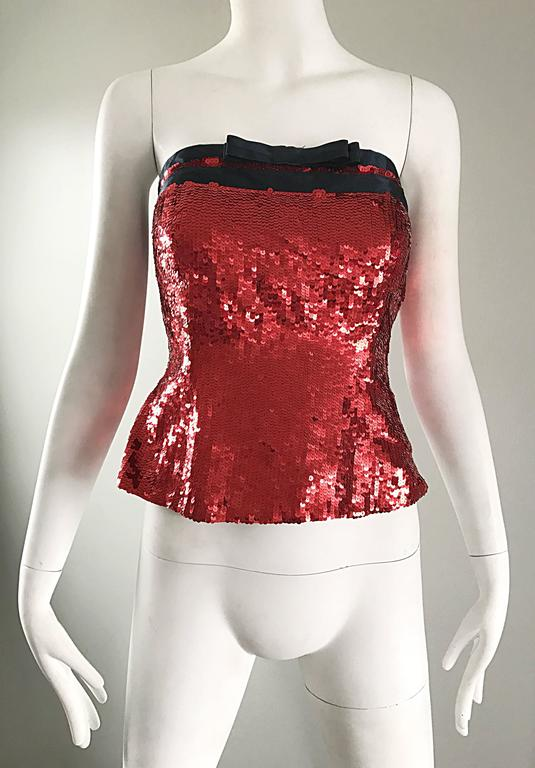 1990s Bill Blass NWT Red Sequin + Black Bow Strapless Bustier Vintage Corset Top For Sale 3