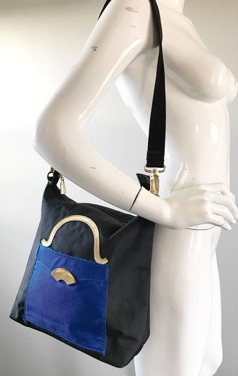 Amazing Vintage Karl Lagerfeld Trompe L'Oeil Black and Blue 1990s Shoulder Bag 2