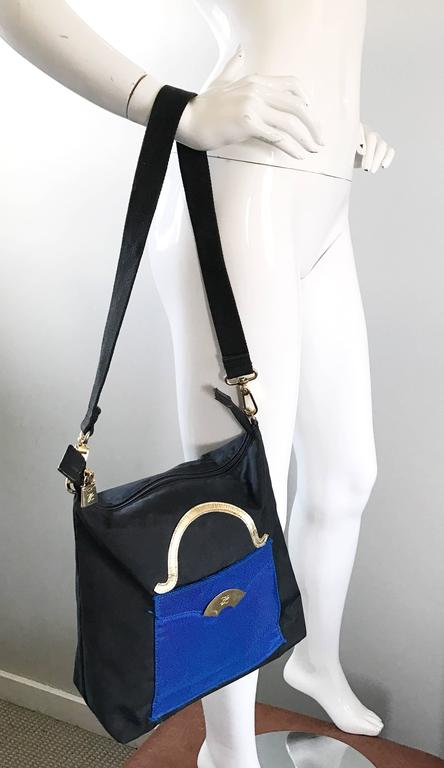 Amazing Vintage Karl Lagerfeld Trompe L'Oeil Black and Blue 1990s Shoulder Bag 5