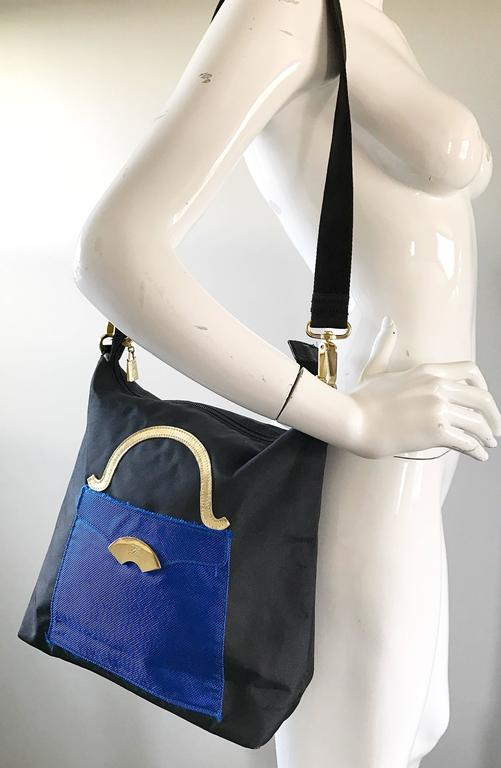 Amazing Vintage Karl Lagerfeld Trompe L'Oeil Black and Blue 1990s Shoulder Bag 7