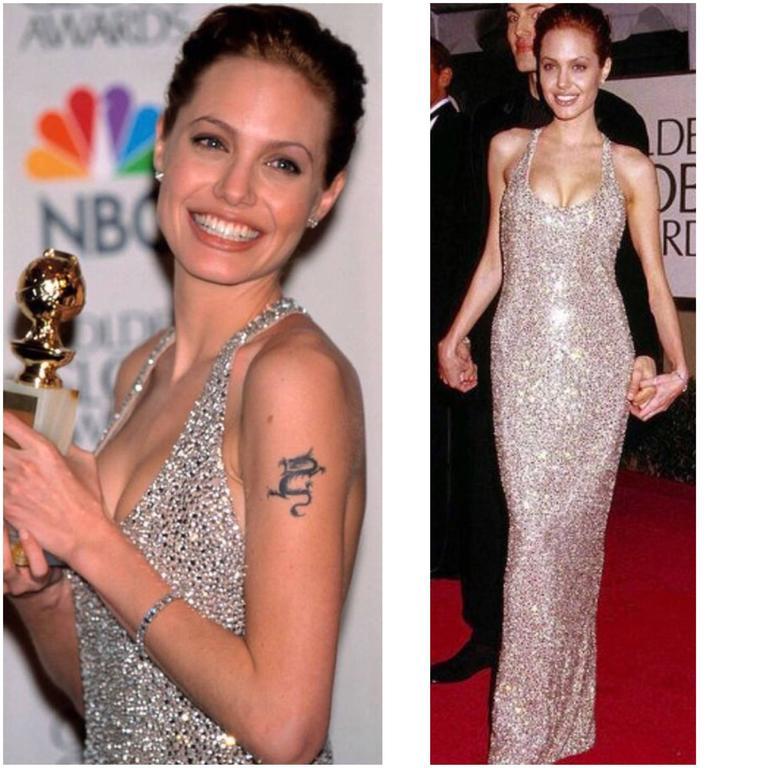 Angelina Jolie\'s 1999 Golden Globe Randolph Duke Couture Heavily ...
