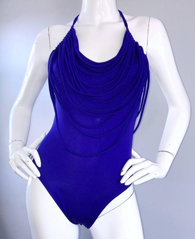 fc3a51c25d Amazing Vintage Bill Blass Royal Blue Avant Garde One Piece Swimsuit ...