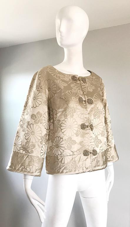 1960s Dynasty Beige Silk Flower Asian Gorgeous Vintage 60s Swing Jacket  8