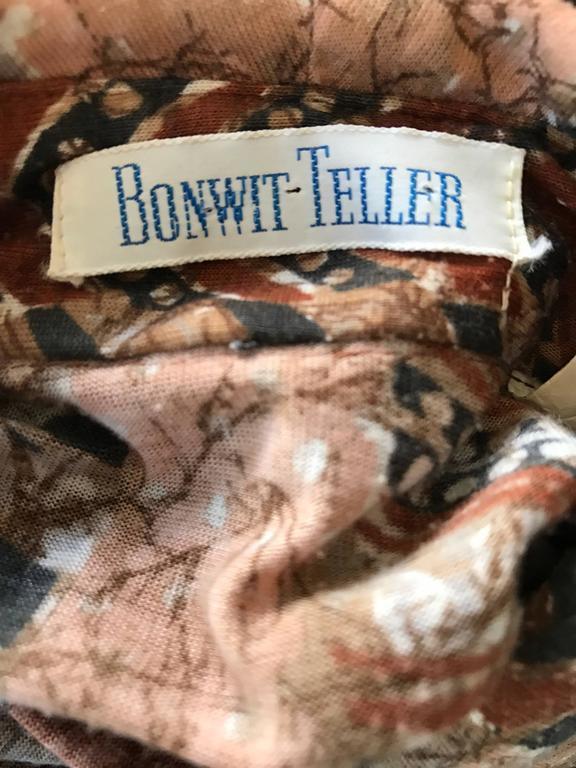 Bonwit Teller 1970s Batik Print Belted Cotton 70s Vintage Brown Safari Dress  For Sale 6