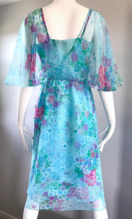 Beautiful 1970s Jane Andres for Gumps Chiffon Vintage 70s Boho Chic Dress 6