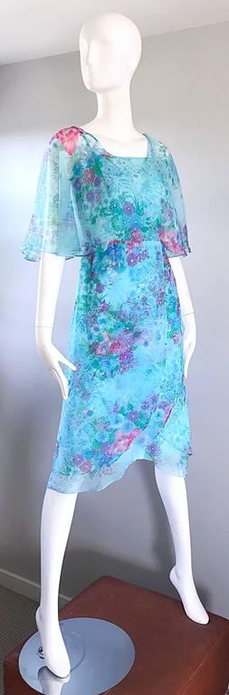 Beautiful 1970s Jane Andres for Gumps Chiffon Vintage 70s Boho Chic Dress 5