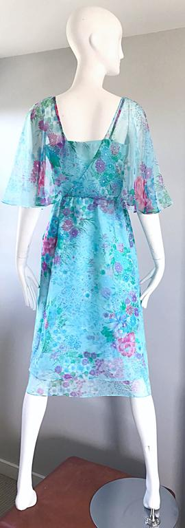 Beautiful 1970s Jane Andres for Gumps Chiffon Vintage 70s Boho Chic Dress 3