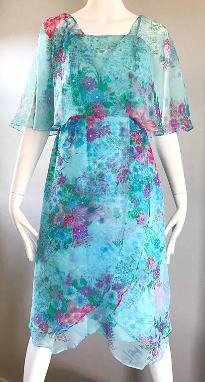 Beautiful 1970s Jane Andres for Gumps Chiffon Vintage 70s Boho Chic Dress 7