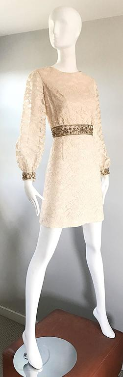 1960s Ivory And Gold Lace Sequins Mod Vintage A Line