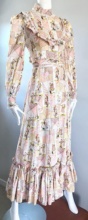 1970s Holly Hobbie Novelty Print Victorian Inspired Cotton