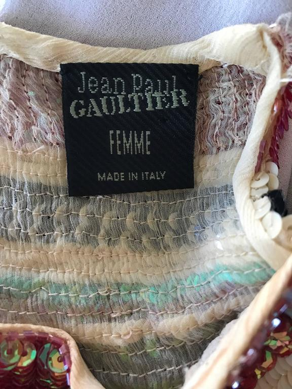 Rare Vintage Jean Paul Gaultier 1990s Silk Sequin ' Navajo ' 90s Blouse Top  For Sale 5