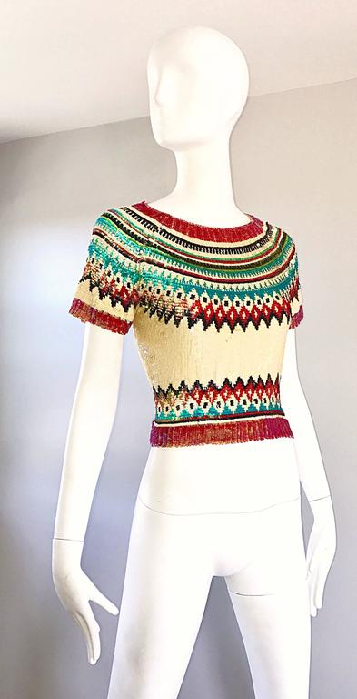 Rare Vintage Jean Paul Gaultier 1990s Silk Sequin ' Navajo ' 90s Blouse Top  In Excellent Condition For Sale In San Francisco, CA