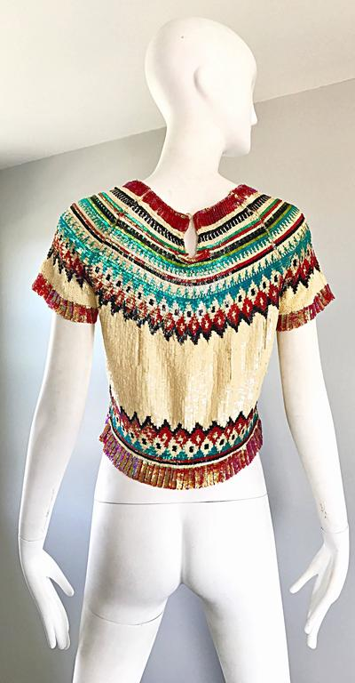Women's Rare Vintage Jean Paul Gaultier 1990s Silk Sequin ' Navajo ' 90s Blouse Top  For Sale