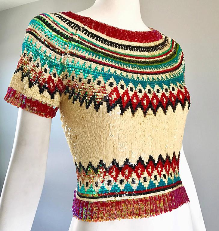 Rare Vintage Jean Paul Gaultier 1990s Silk Sequin ' Navajo ' 90s Blouse Top  For Sale 2