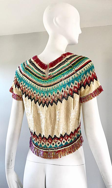 Rare Vintage Jean Paul Gaultier 1990s Silk Sequin ' Navajo ' 90s Blouse Top  For Sale 3