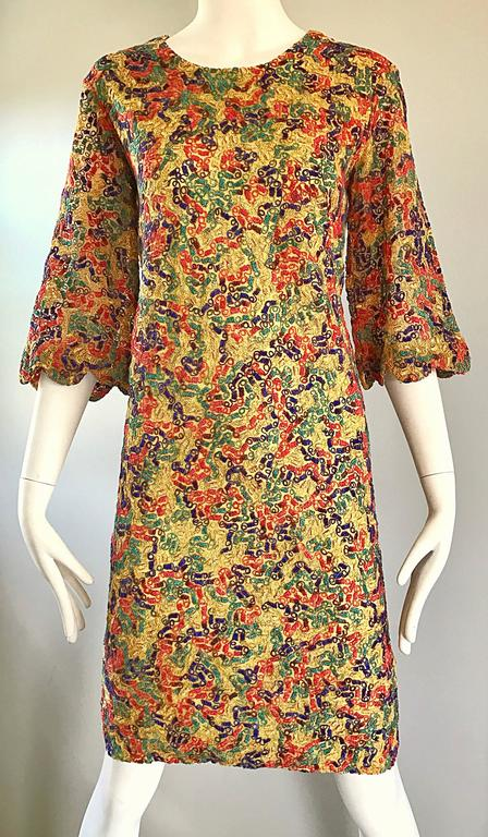 Amazing 1960s Colorful 60s Vintage Mod Shift Dress w/ Scalloped Bell Sleeves For Sale 1