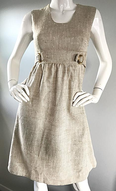 1960s Lord And Taylor Khaki Tan Linen Vintage 60s A Line