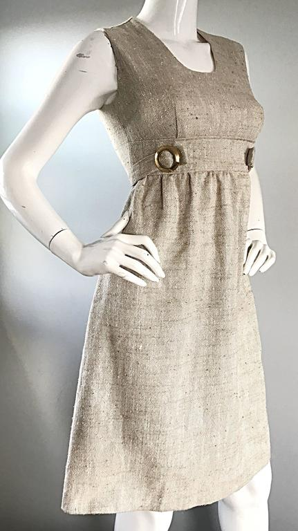 90b543dcc32 1960s Lord   Taylor Khaki Tan Linen Vintage 60s A - Line Mod Babydoll Dress  For