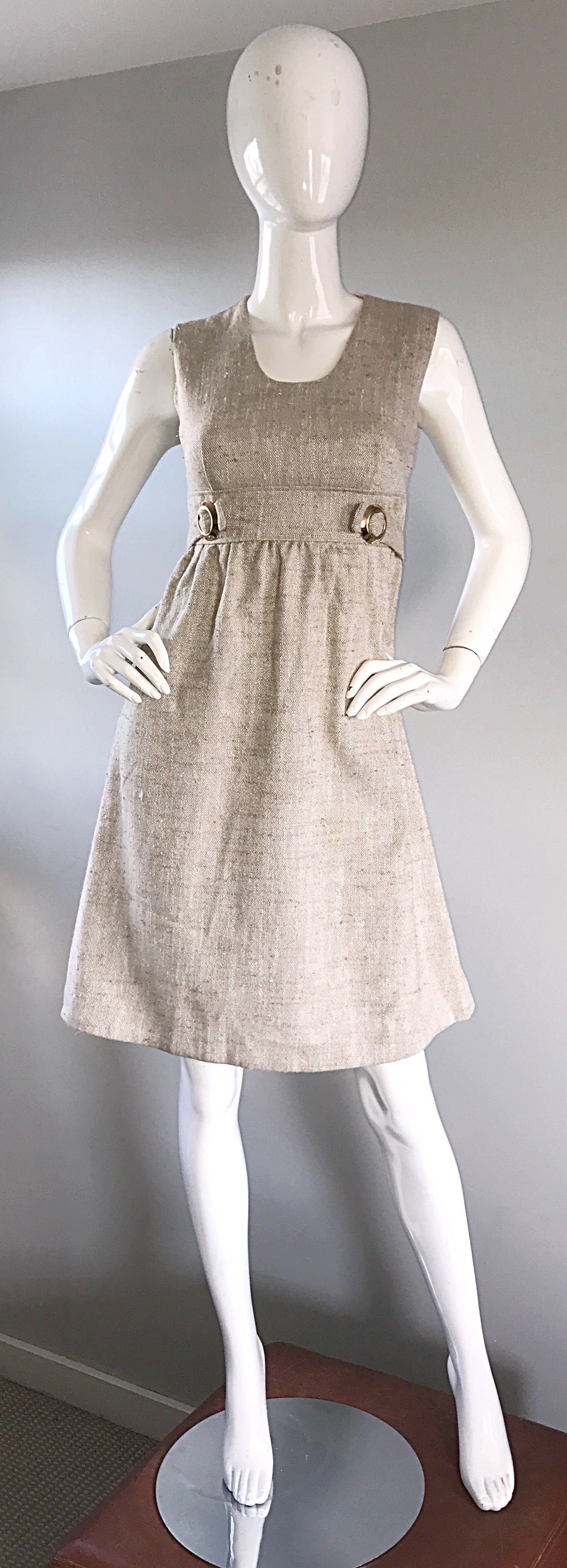 4a84ef94a8c 1960s Lord and Taylor Khaki Tan Linen Vintage 60s A - Line Mod Babydoll  Dress at 1stdibs