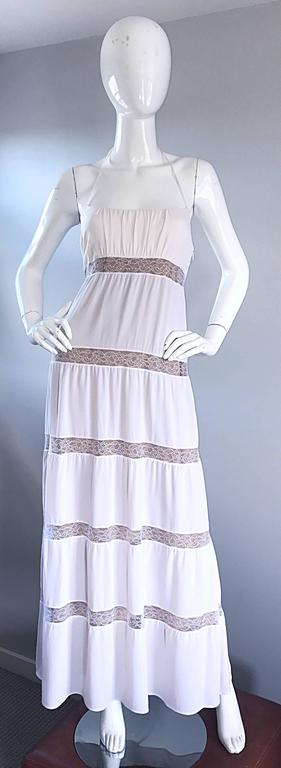 Michael Kors Collection White and Nude Silk + Lace Boho Halter Maxi Dress / Gown 2