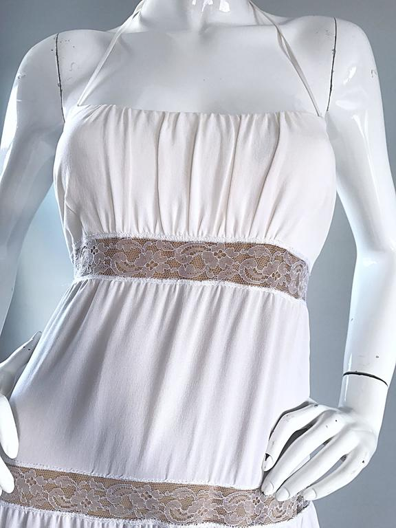 Michael Kors Collection White and Nude Silk + Lace Boho Halter Maxi Dress / Gown 3