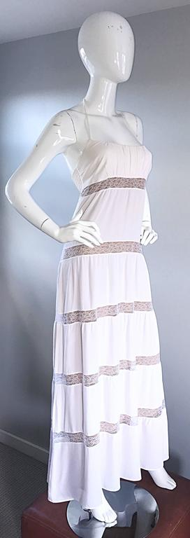 Michael Kors Collection White and Nude Silk + Lace Boho Halter Maxi Dress / Gown 4