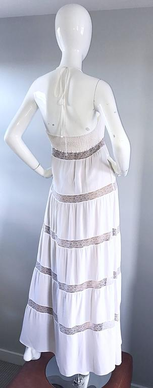 Michael Kors Collection White and Nude Silk + Lace Boho Halter Maxi Dress / Gown 5