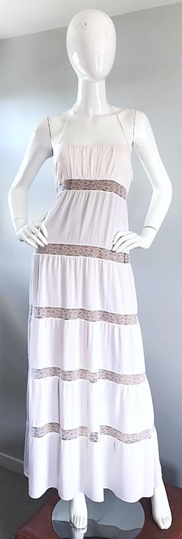 Michael Kors Collection White and Nude Silk + Lace Boho Halter Maxi Dress / Gown 9