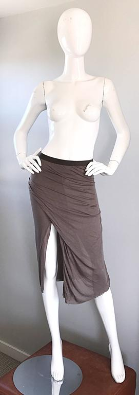 Signature RICK OWENS asymmetrical bodcon skirt or strapless tunic top in 'dust' color! Double layered soft rayon and cotton blend. So much detail to this little gem! Stretches to fit. Unfinished hem with a slit up the side hem. Elastic waistband.