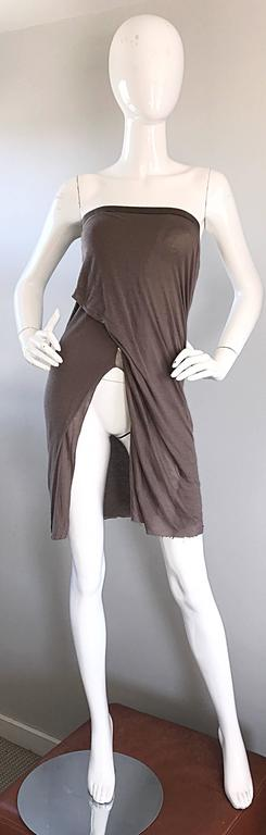 Rick Owens Dust Light Brown Asymmetrical Bodycon Runway Skirt or Strapless Top  In Excellent Condition For Sale In Chicago, IL