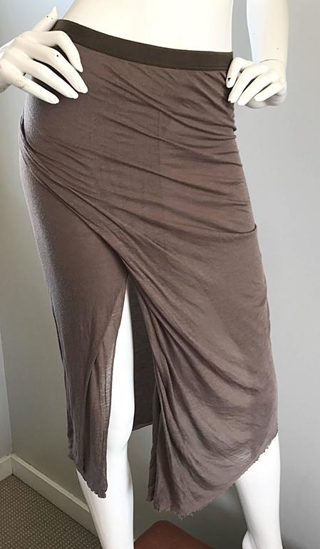 Women's Rick Owens Dust Light Brown Asymmetrical Bodycon Runway Skirt or Strapless Top  For Sale