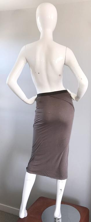 Rick Owens Dust Light Brown Asymmetrical Bodycon Runway Skirt or Strapless Top  For Sale 1