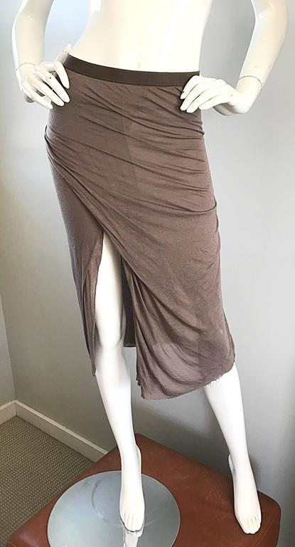 Rick Owens Dust Light Brown Asymmetrical Bodycon Runway Skirt or Strapless Top  For Sale 2