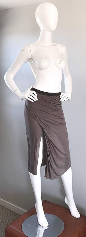 Rick Owens Dust Light Brown Asymmetrical Bodycon Runway Skirt or Strapless Top  For Sale 3