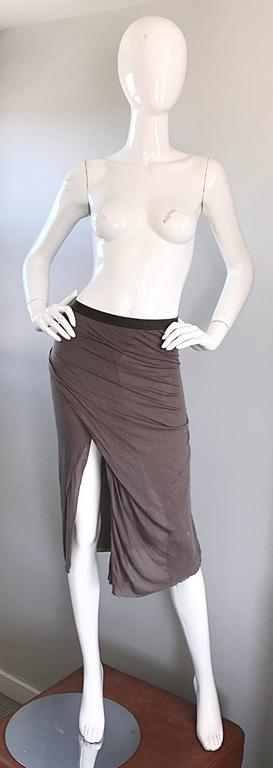 Rick Owens Dust Light Brown Asymmetrical Bodycon Runway Skirt or Strapless Top  For Sale 5
