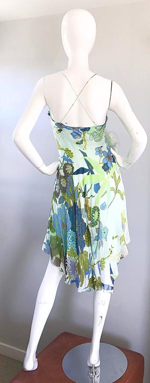 Beautiful 1990s Jenny Packham Silk Chiffon Flower Printed Handkerchief Hem Dress For Sale 2