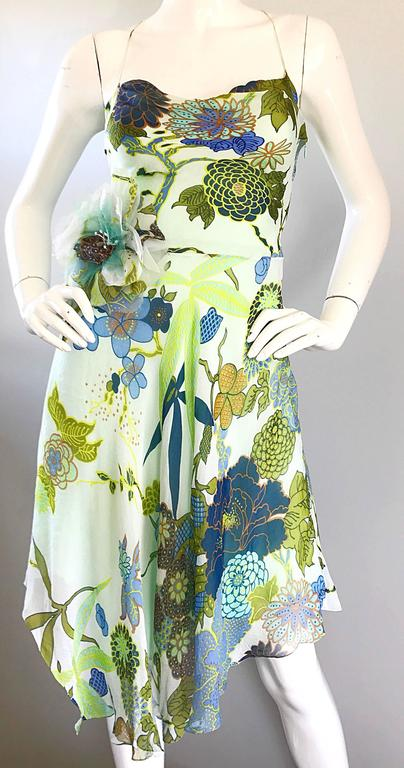 Beautiful 1990s Jenny Packham Silk Chiffon Flower Printed Handkerchief Hem Dress For Sale 1