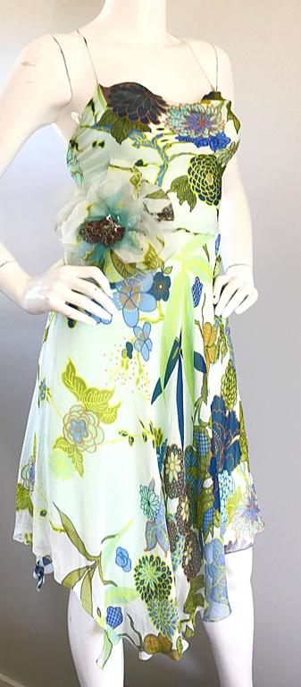 Beautiful 1990s Jenny Packham Silk Chiffon Flower Printed Handkerchief Hem Dress For Sale 3