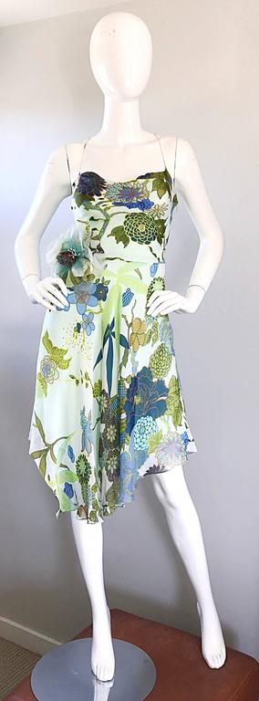 Beautiful 1990s Jenny Packham Silk Chiffon Flower Printed Handkerchief Hem Dress For Sale 4
