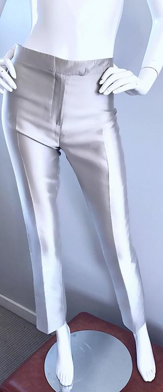 Oscar de la Renta 1990s Silver Metallic Size 2 High Waist Skinny Cigarette Pants In Excellent Condition For Sale In Chicago, IL