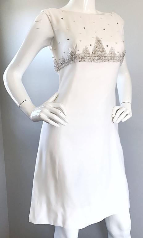 ec4aa2306d Gray Beautiful 1960s White Linen Beads + Pearls + Sequins A - Line 60s  Shift Dress