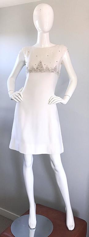 615ce2a205 Women s Beautiful 1960s White Linen Beads + Pearls + Sequins A - Line 60s  Shift Dress