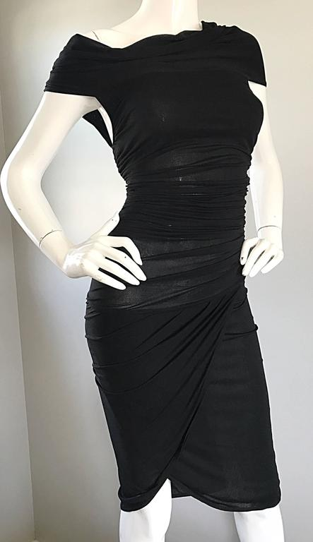 Women's 1990s Celine Sexy Off Shoulder Semi Sheer Asymmetrical Bodycon Black Dress For Sale