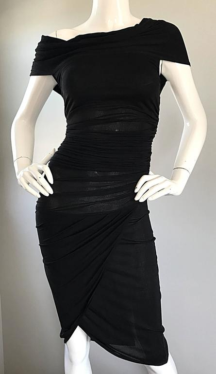 1990s Celine Sexy Off Shoulder Semi Sheer Asymmetrical Bodycon Black Dress For Sale 3